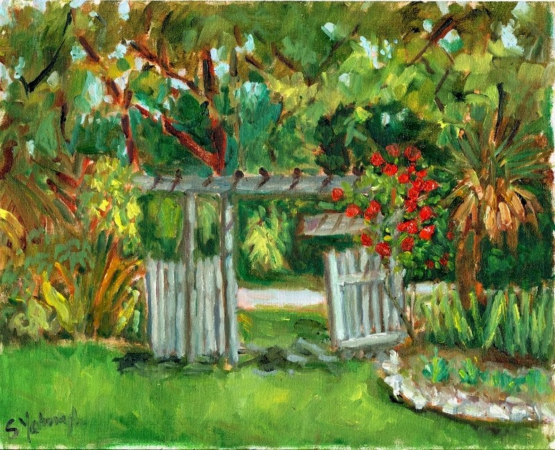 """Garden Gate"" original fine art by Sharon Yarbrough"