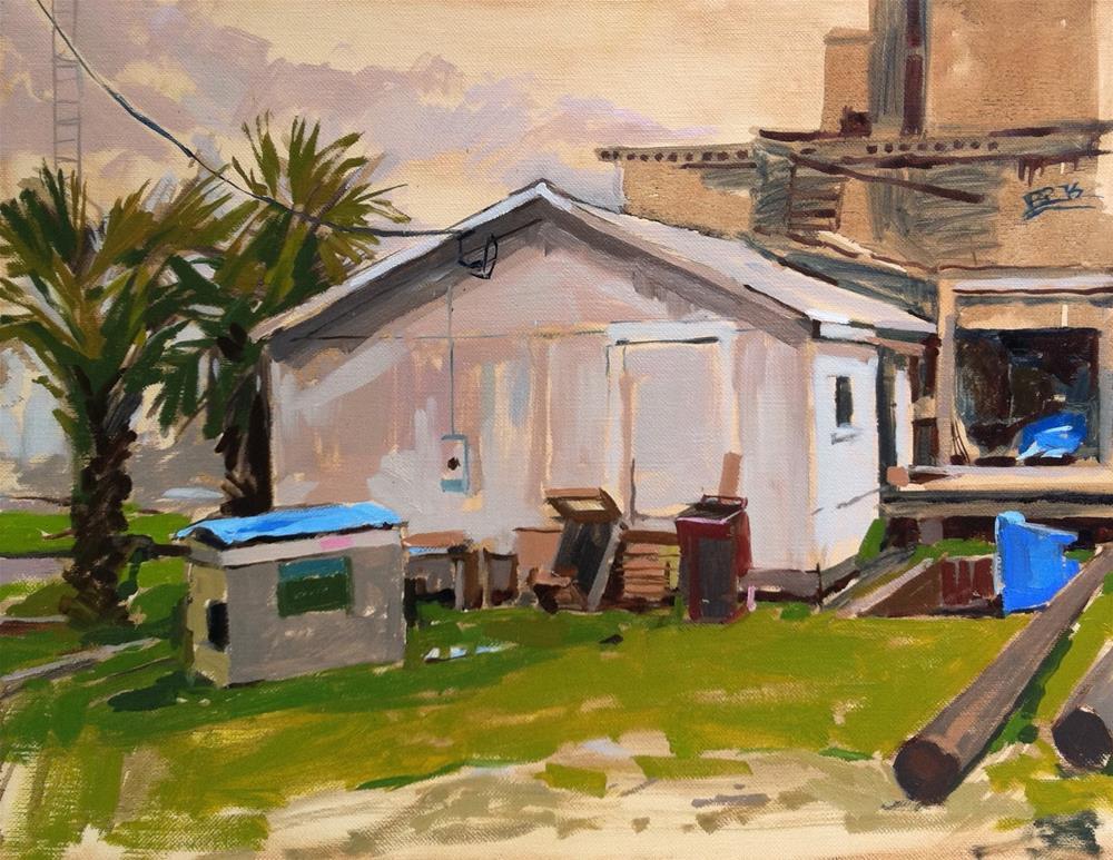 """Shrimp hut on Water Street"" original fine art by Haidee-Jo Summers ROI"