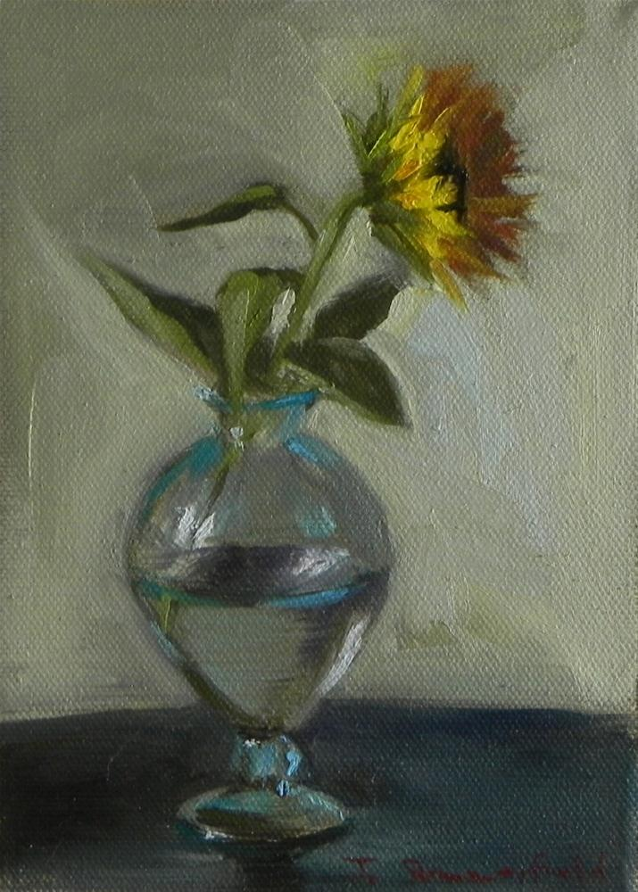 """Sunflower in Clear Blue Vase"" original fine art by Jonelle Summerfield"