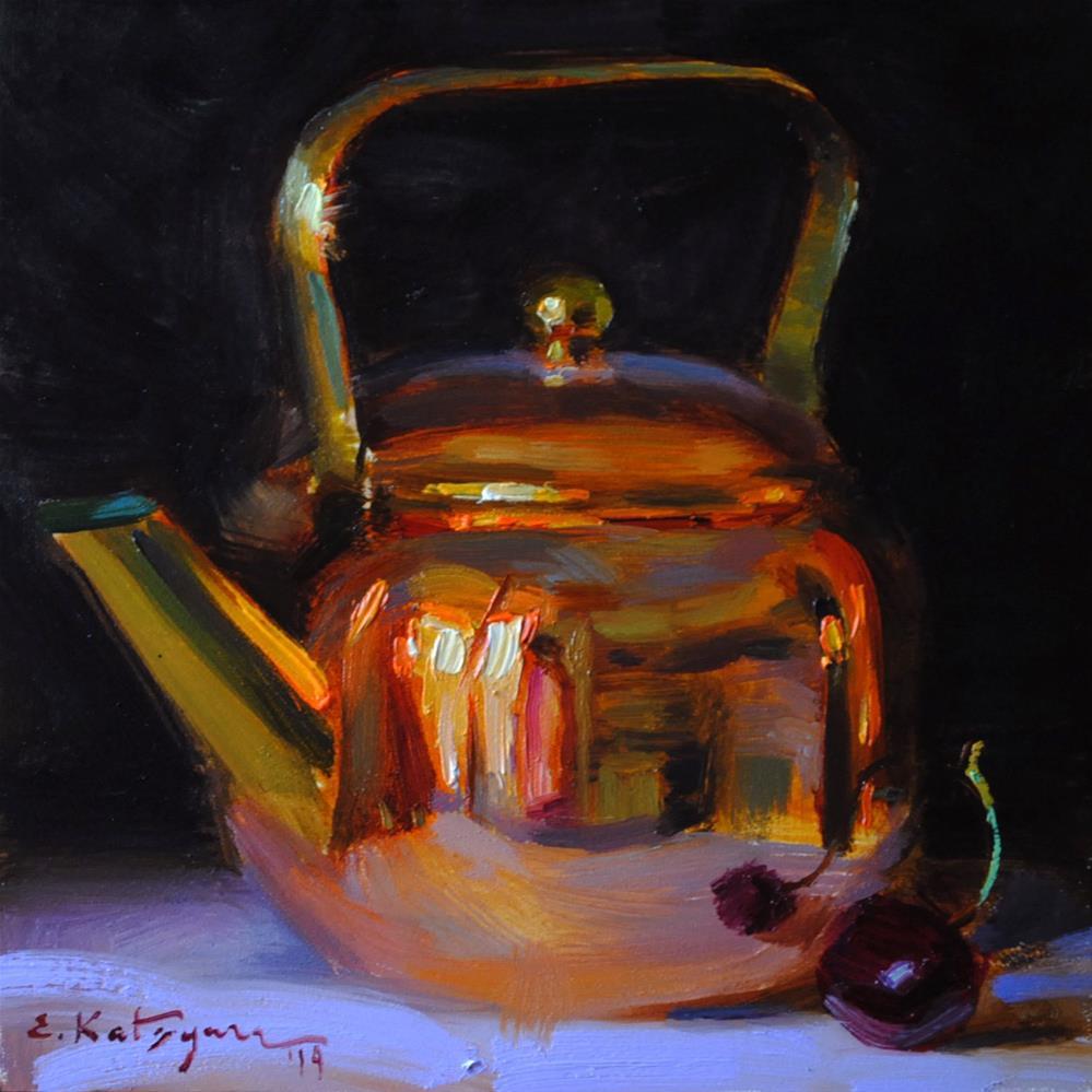 """Copper and Cherry"" original fine art by Elena Katsyura"