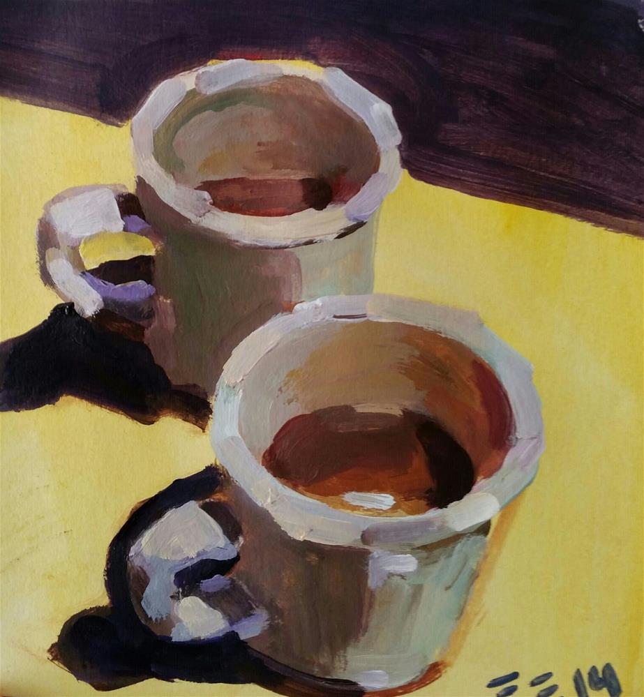 """Coffee at Bella's"" original fine art by Liz Maynes"