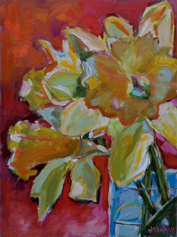 """DAFFODIL FASHION"" original fine art by Jean Delaney"