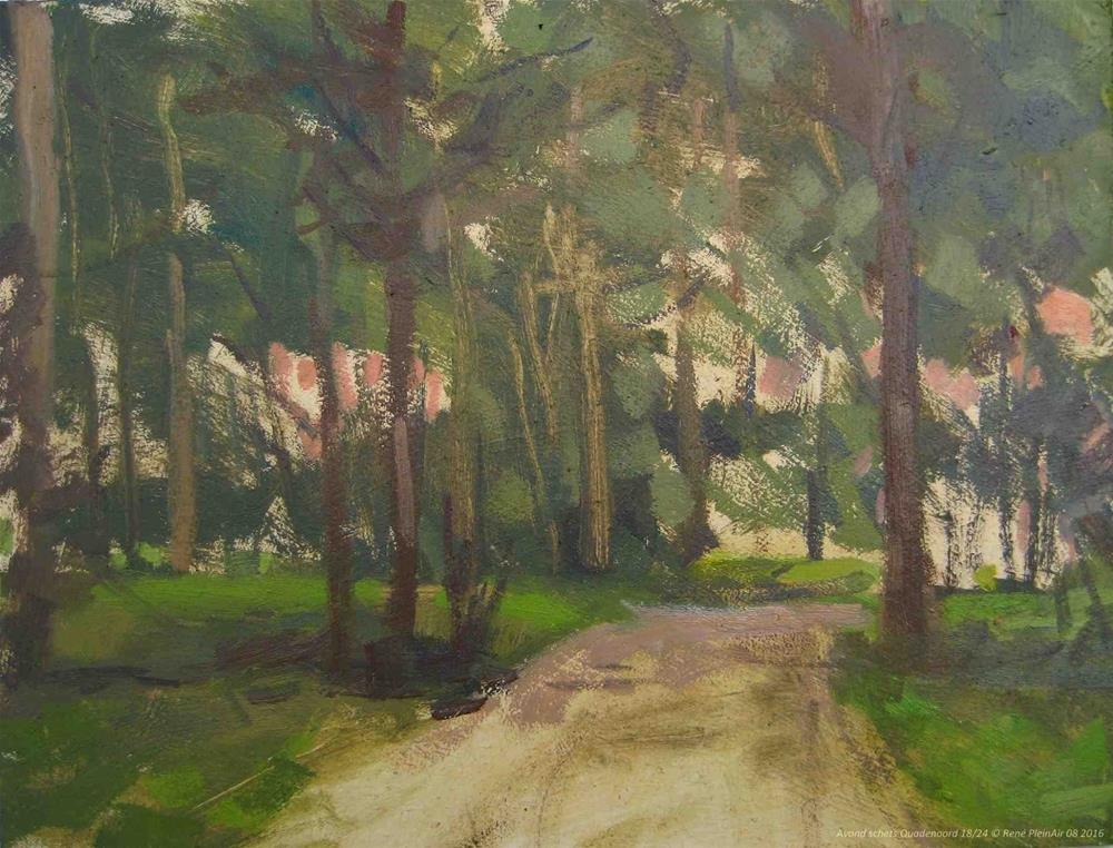 """Evening sketch Renkum, The Netherlands."" original fine art by René PleinAir"