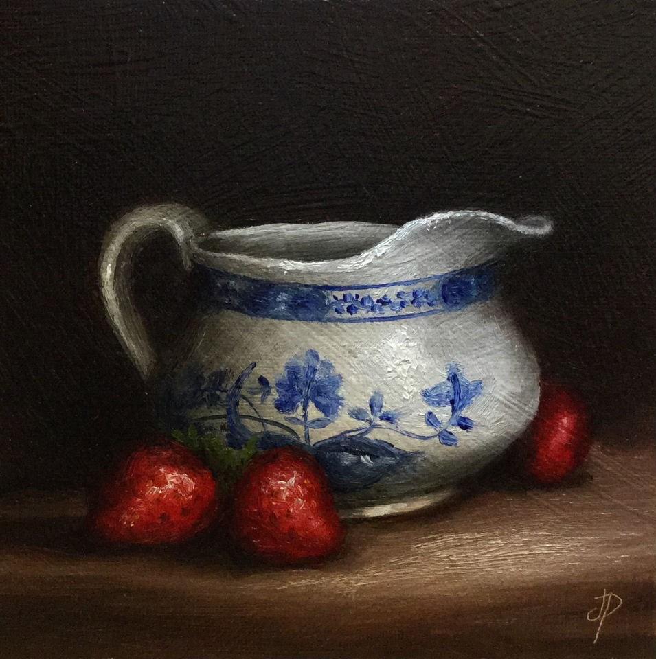 """Cream jug and strawberries"" original fine art by Jane Palmer"