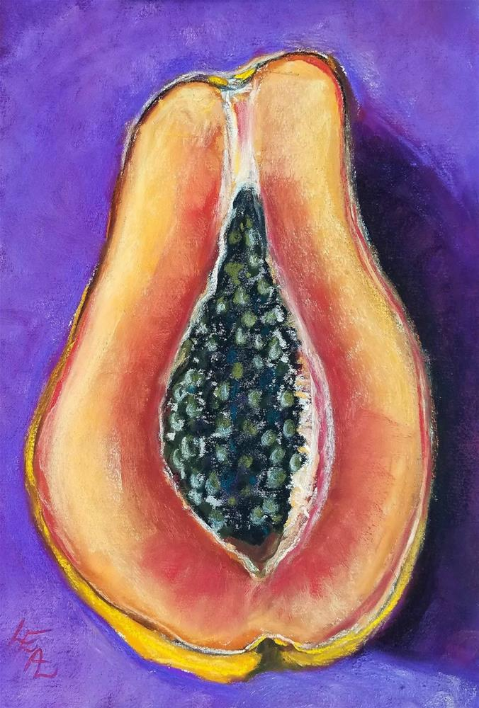 """Papaya on Grape"" original fine art by Anna Lisa Leal"