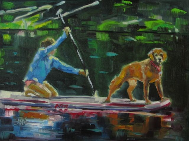 """THE DOG PADDLE"" original fine art by Mb Warner"