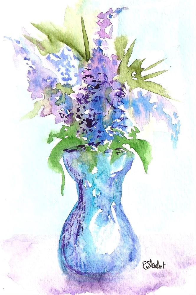 """4x6 Postcard Size Art Lilacs and Lavender Flowers Blue Vase WC Penny StewArt"" original fine art by Penny Lee StewArt"