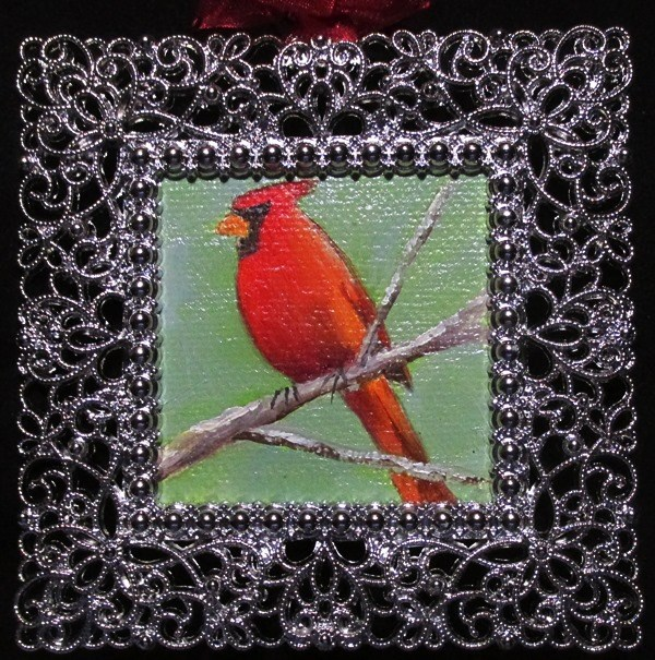 """Cardinal on a Branch"" original fine art by Ruth Stewart"