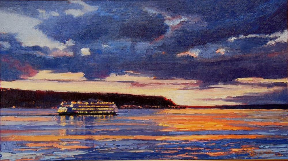 """Night Ferry  marinescape , oil on linen panel by Robin Weiss"" original fine art by Robin Weiss"