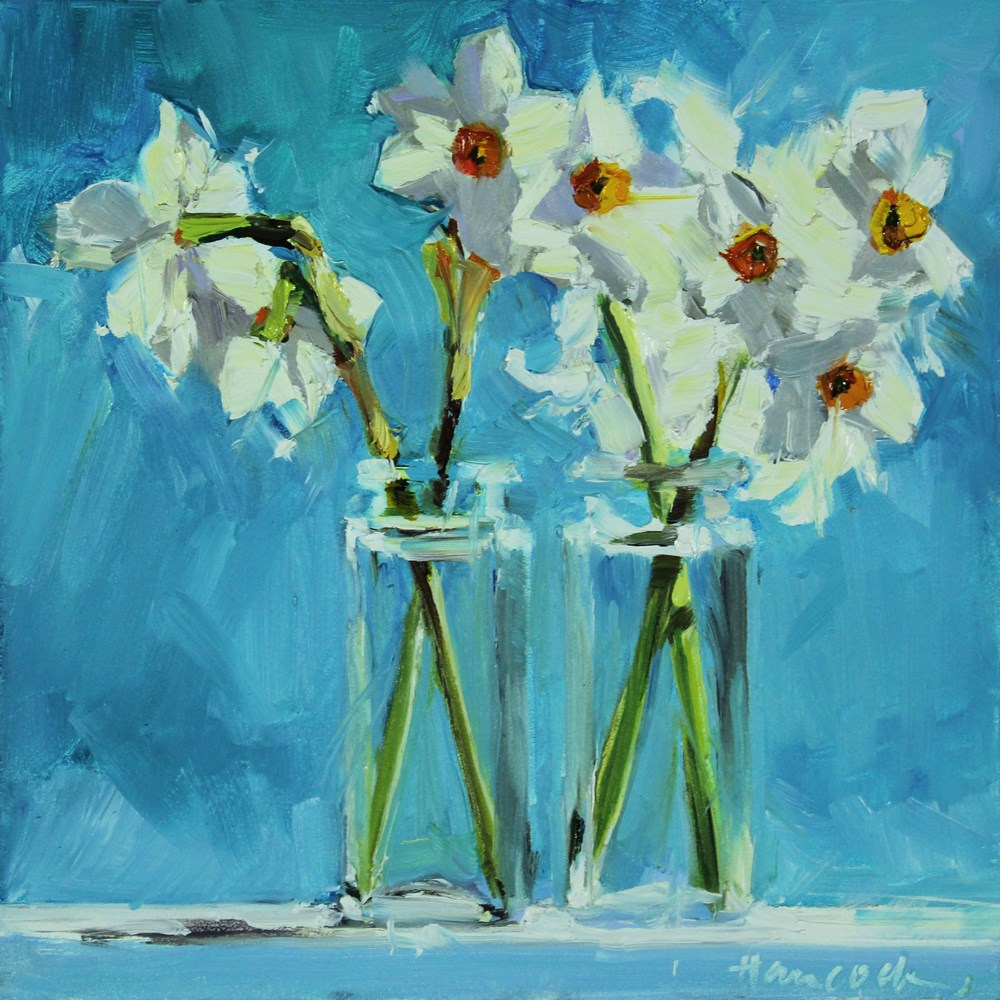 """""""Spring Daffodils on Turquoise"""" original fine art by Gretchen Hancock"""