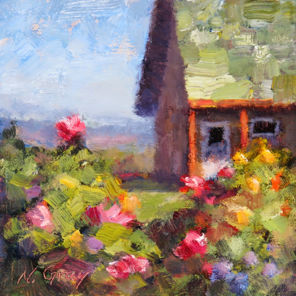 """Little Cabin with White Door"" original fine art by Naomi Gray"