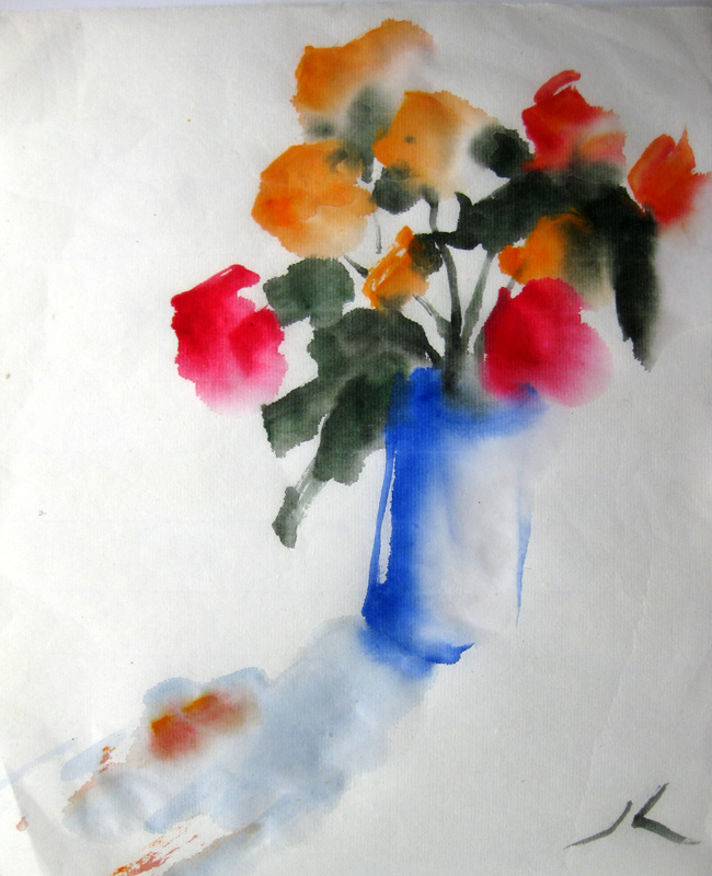"""Roses in Blue Vase"" original fine art by Julia Lu"