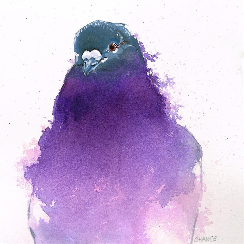 """""""No. 7 Purple Pigeon"""" original fine art by Annabel Chance"""