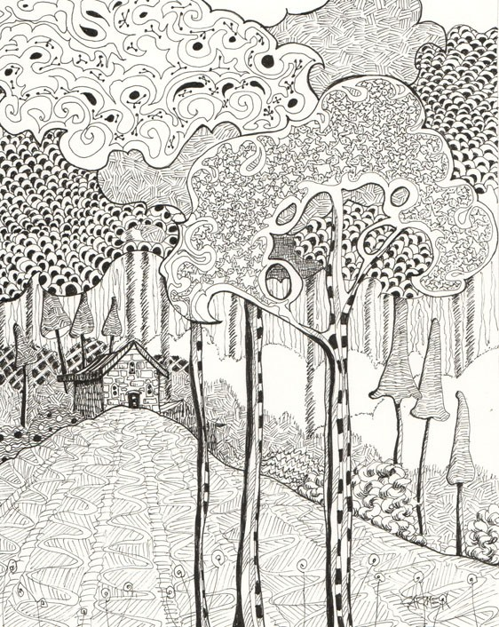 """Zentangle Woodland, 8x10 Pen and Ink"" original fine art by Carmen Beecher"