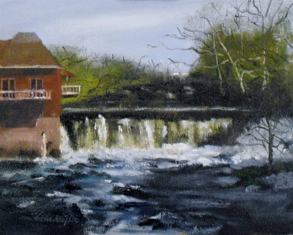 """""""Cuyahoga Valley Falls ~ 8x10~ Oil on Panel"""" original fine art by Vincenza Harrity"""