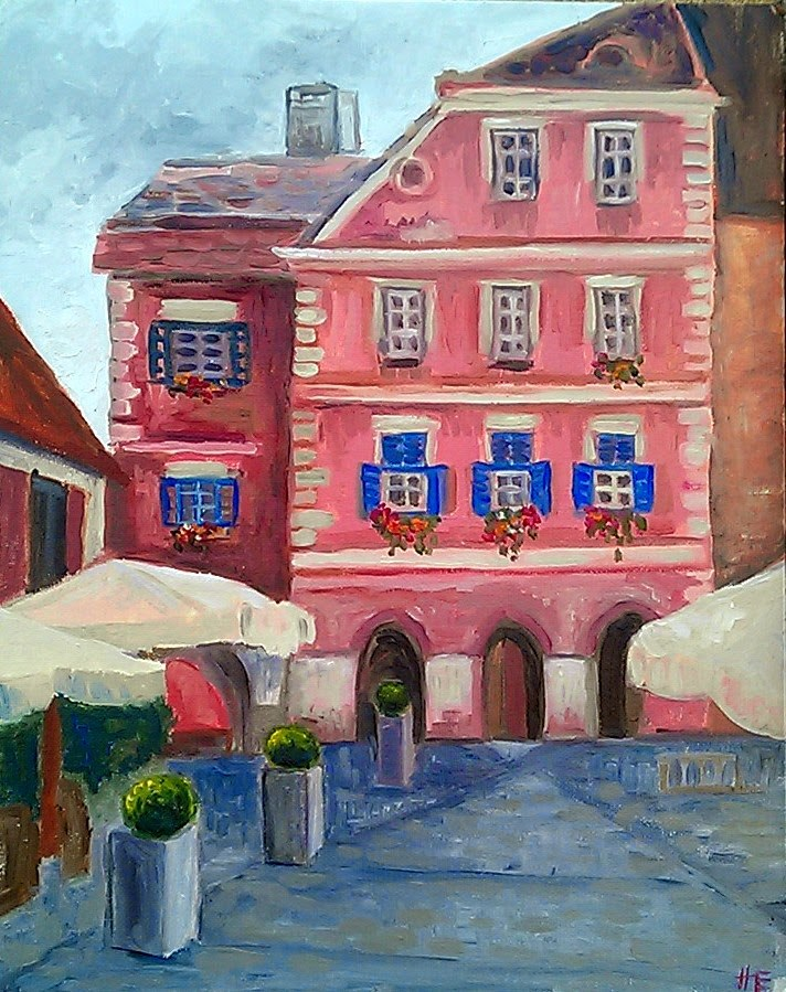 """Pink building with blue shutters, Sibiu."" original fine art by Hilary J. England"