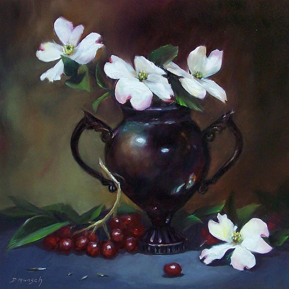 """""""Dogwood Flowers"""" original fine art by Donna Munsch"""