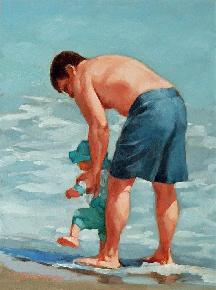 """""The Coach--Series Painting of Father and Child on the Beach"" original fine art by Joanna Bingham"