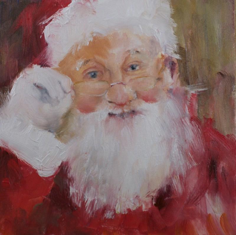 """Santa #4 (2014)"" original fine art by Sue Churchgrant"