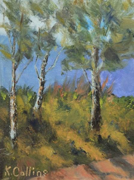 """Museum Garden Aspens"" original fine art by Kathy Collins"