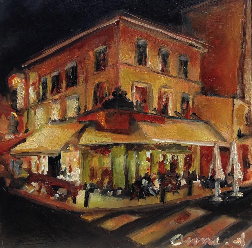 """""""Au Café du Coin - Paris by Night Series"""" original fine art by Anne Ducrot"""