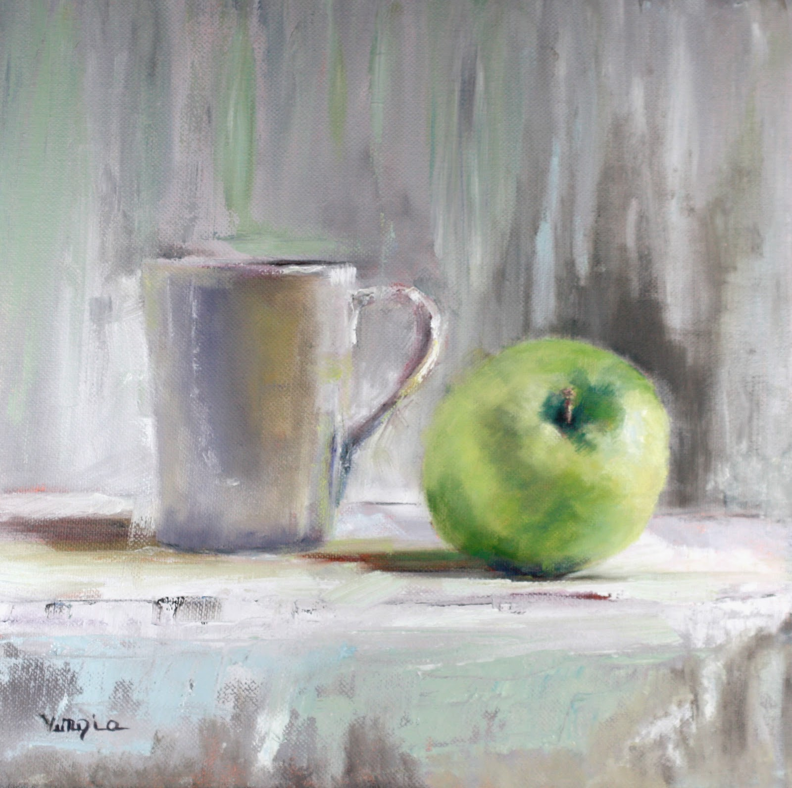 """still life with green apple and white cup"" original fine art by Carrie Venezia"