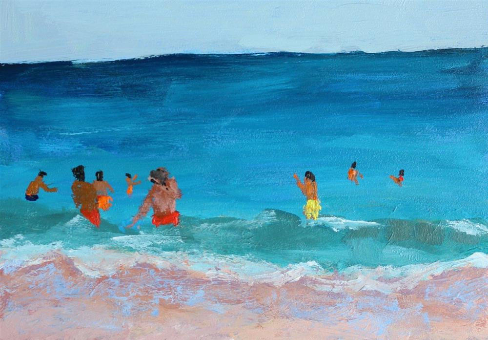 """Beach Painting"" original fine art by Christine Parker"