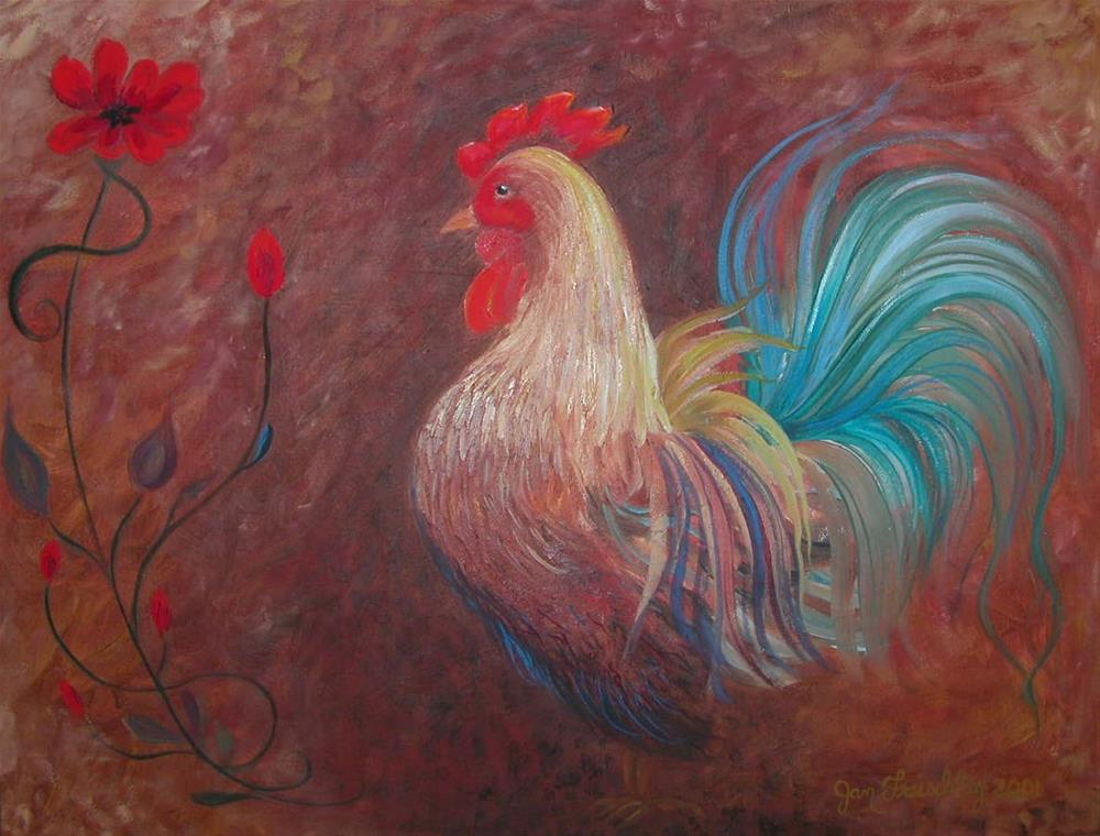"""Blue rooster"" original fine art by Janice Freischlag"