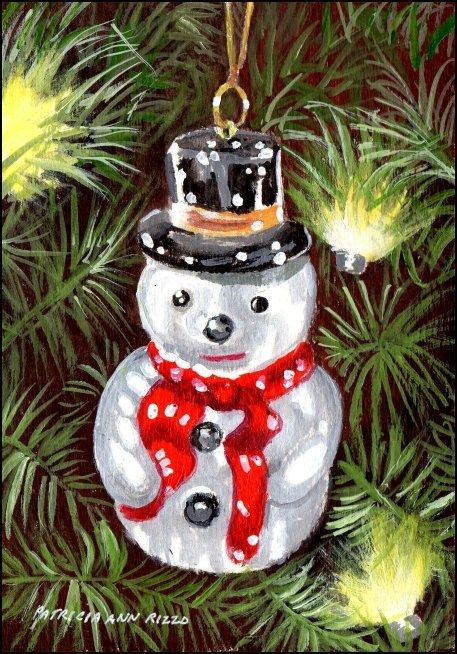 """Snowman Ornament"" original fine art by Patricia Ann Rizzo"