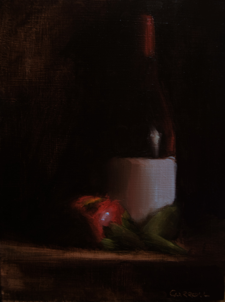 """""""Bottle with Apple"""" original fine art by Neil Carroll"""
