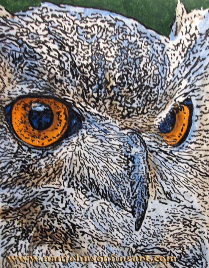 """Eagle Owl"" original fine art by Nan Johnson"