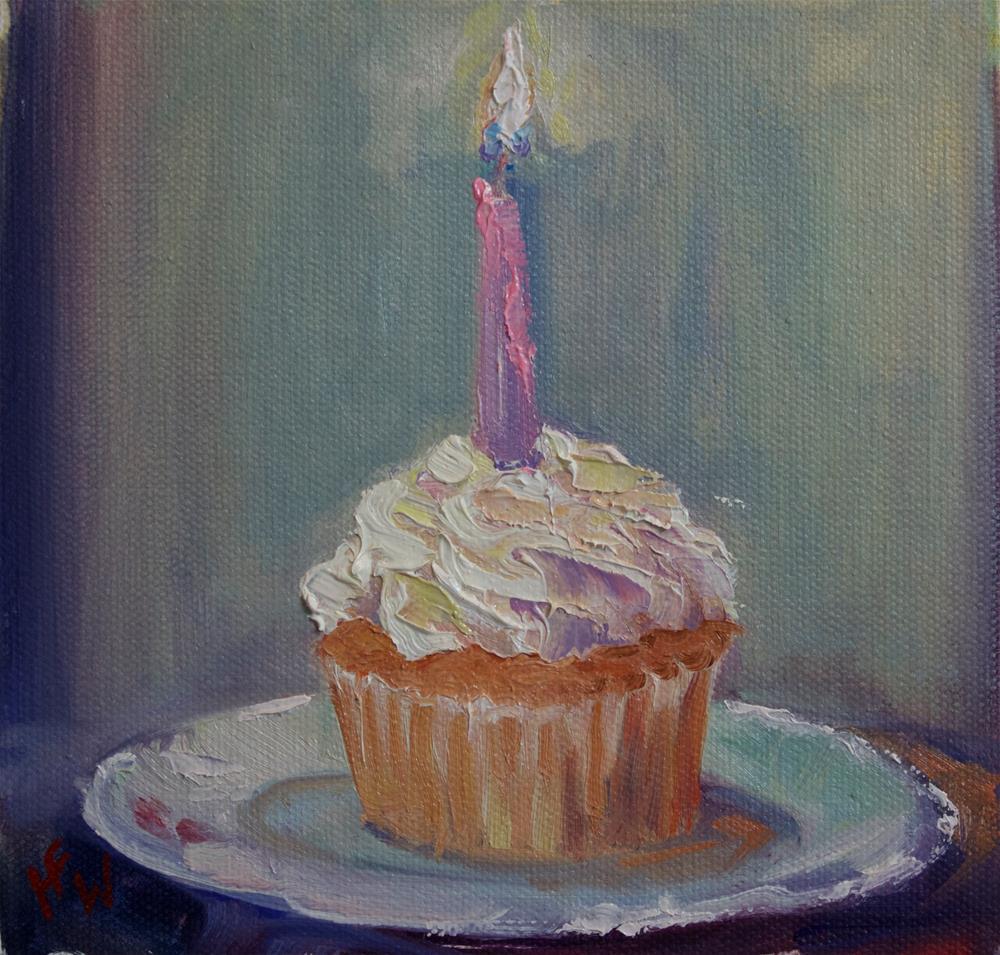 """Cherry Almond Cupcake"" original fine art by H.F. Wallen"