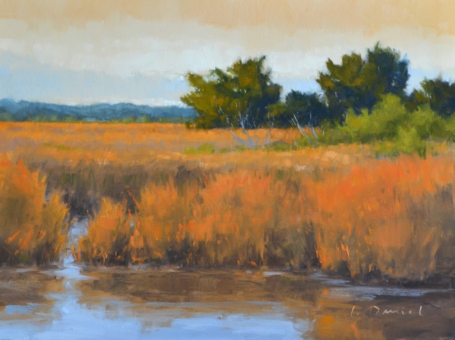 """Golden Marshland - Anderson Gallery Exhibit"" original fine art by Laurel Daniel"