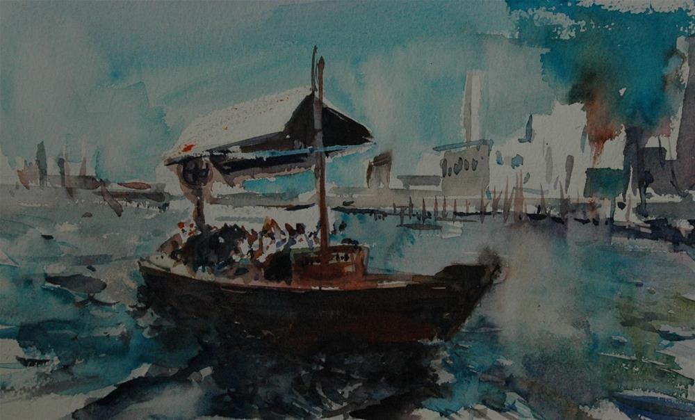 """""""Dubai Creek"""" original fine art by Midori Yoshino"""
