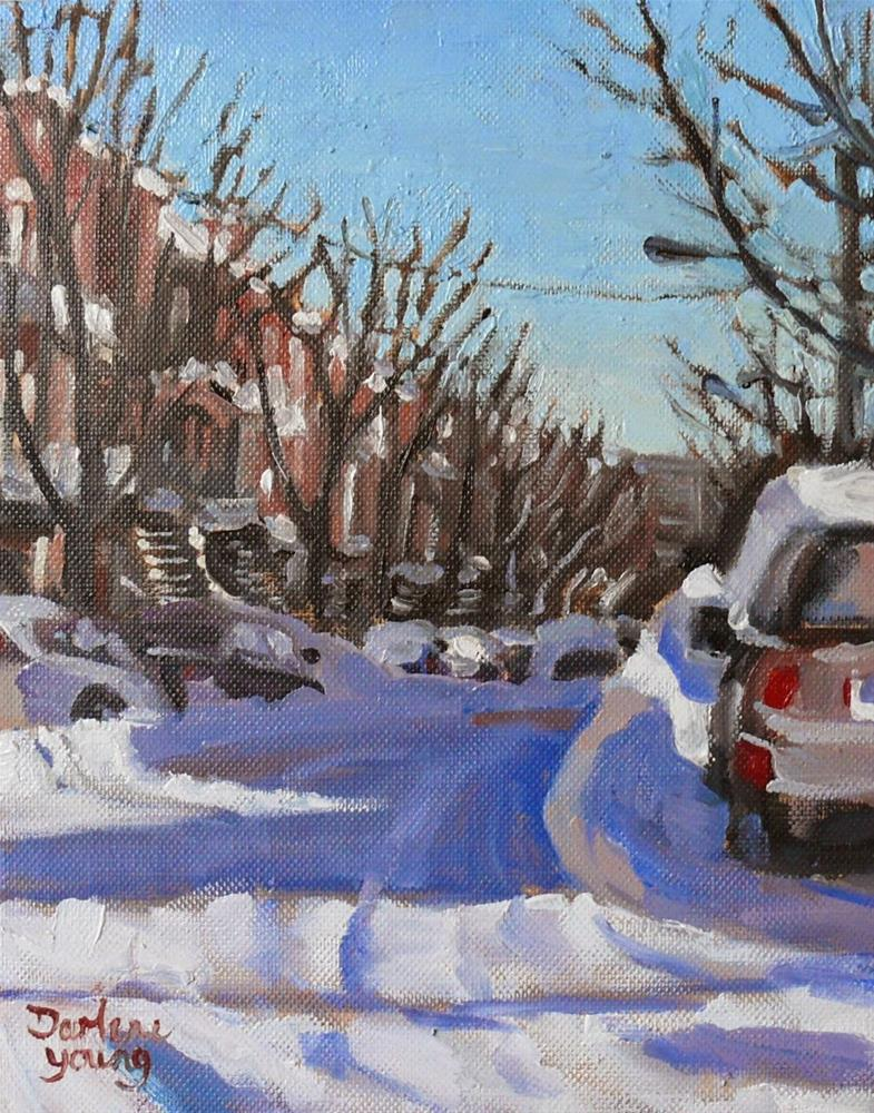 """830 Montreal Winter Scene, Warm Shadows, 8x10, oil"" original fine art by Darlene Young"