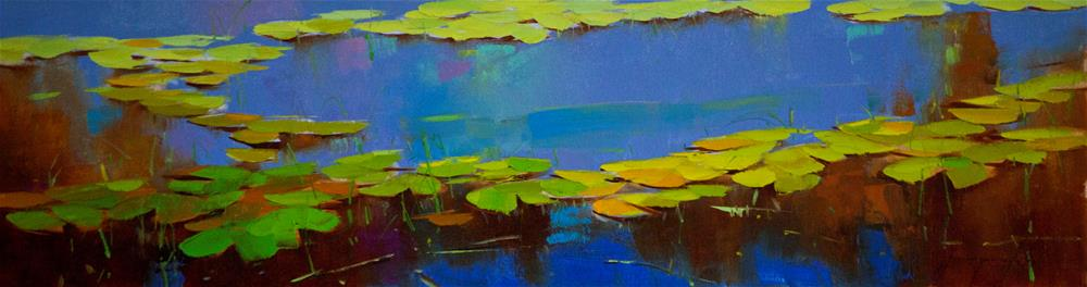 """Water Lilies blue Reflection Handmade oil Painting Large size"" original fine art by V Y"