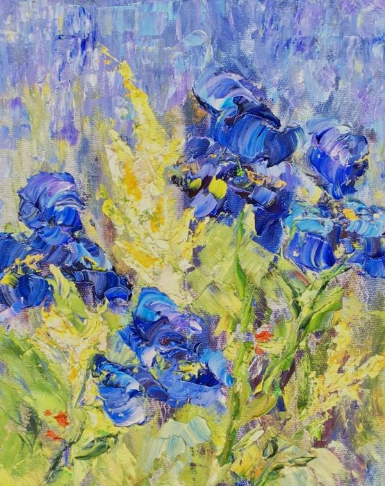 """Original Palette Knife Flower Fine Art Painting Iris by Colorado Artist Judith Babcock"" original fine art by Judith Babcock"