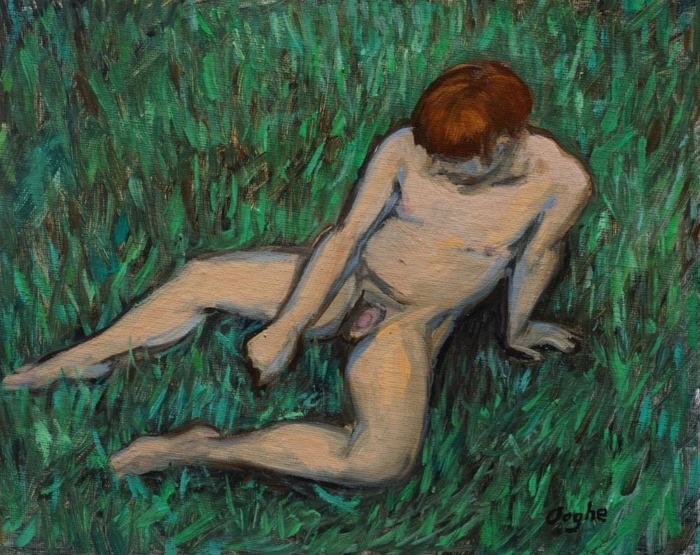 """Nude on Grass"" original fine art by Angela Ooghe"