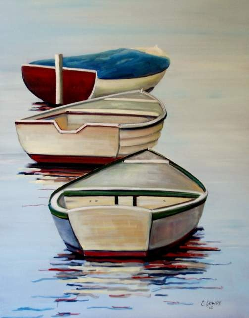 """Three Boats"" original fine art by Christina Dowdy"