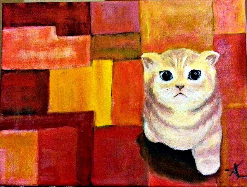 """Colorful Cat"" original fine art by Konstantia Karletsa"