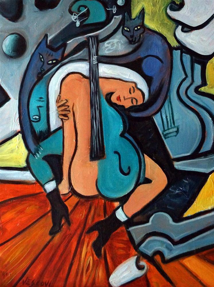 """Bleu Cats"" original fine art by Valerie Vescovi"