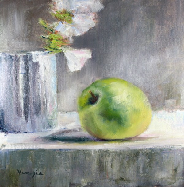 """oil painting green apple and flowers"" original fine art by Carrie Venezia"