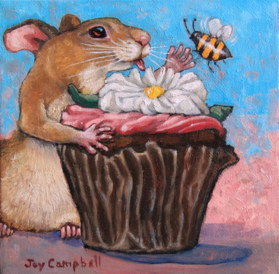 """My Cupcake"" original fine art by Joy Campbell"