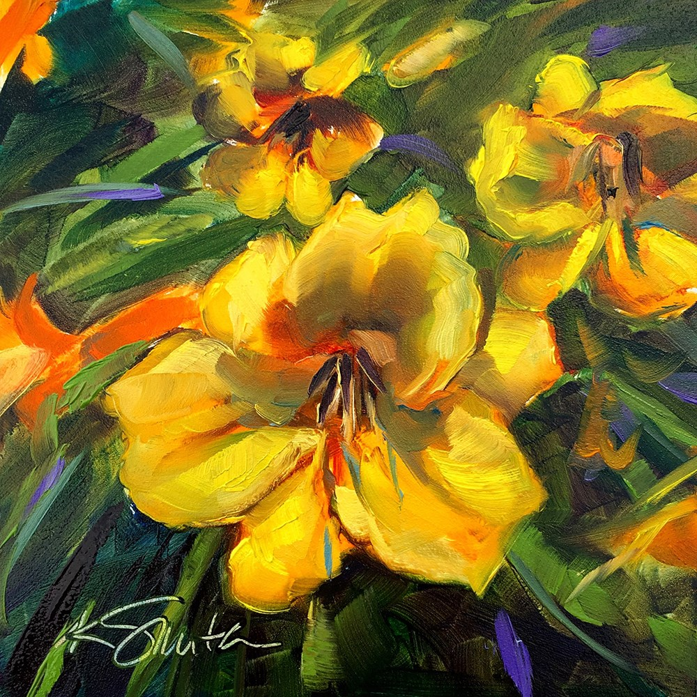 """Stella De Oro Daylily"" original fine art by Kim Smith"