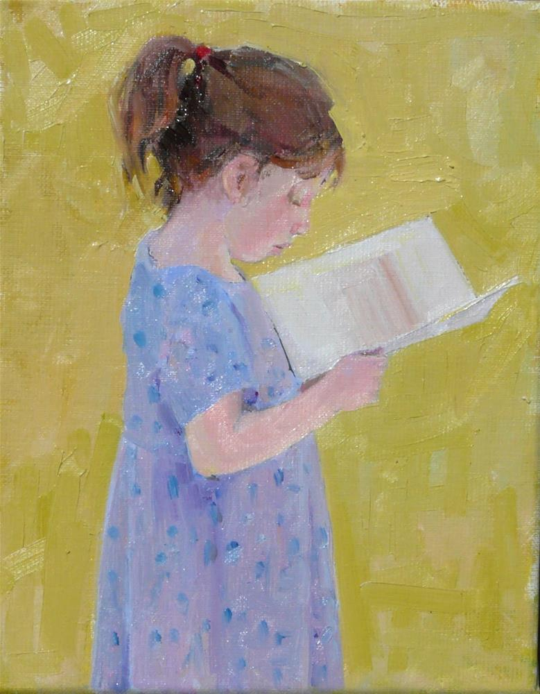 """Girl with Picture Book,figure,oil on linen canvas,10x8,price$400"" original fine art by Joy Olney"