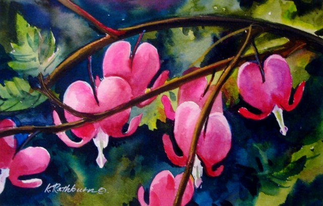 """My Bleeding Hearts"" original fine art by Kathy Los-Rathburn"