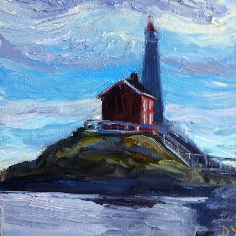 """Fisgard Lighthouse,knife painting 6x6, oil"" original fine art by Darlene Young"
