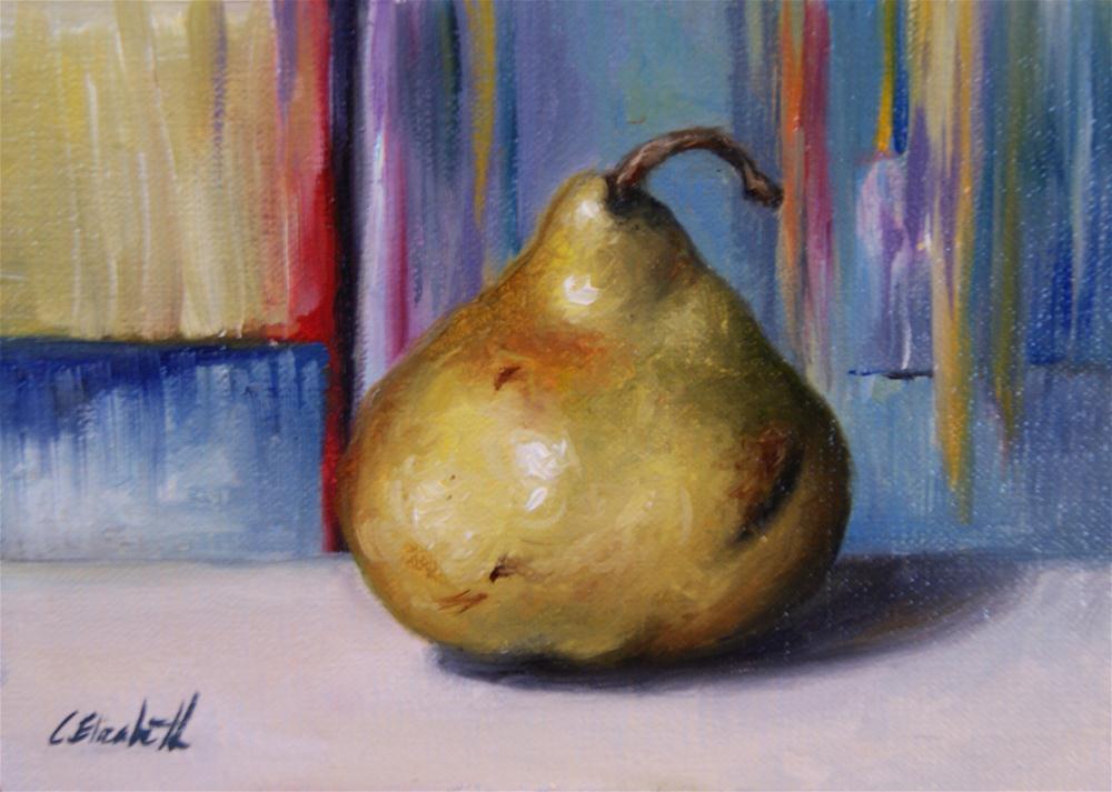 """Pear and Abstract"" original fine art by Carolina Elizabeth"