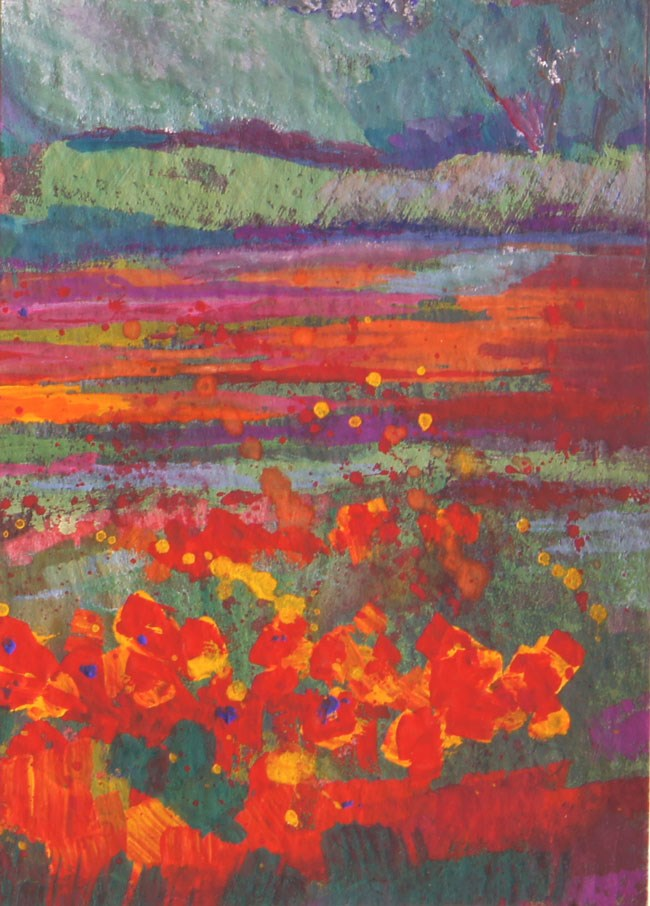"""ACEO miniature art - Provence poppy fields by Marion Hedger"" original fine art by Marion Hedger"