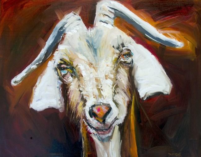 """ARTOUTWEST DIANE WHITEHEAD SILLY GOAT ANIMAL ART OIL PAINTING"" original fine art by Diane Whitehead"